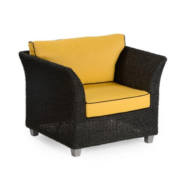 Melissa armchair: Polyrod+hyacinth, loose cushions, black
