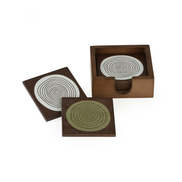 Coasters: Set of 4, Abstract circles in green on dark veneer