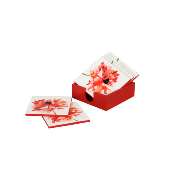 Flower coasters: white+red set/6