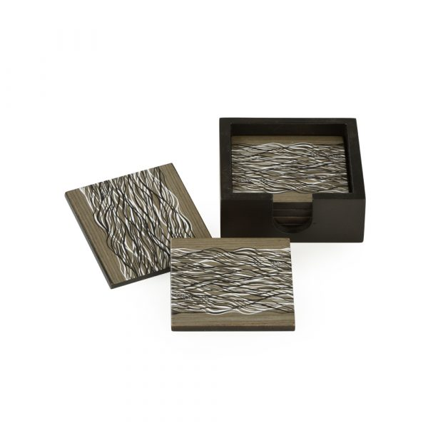 Coasters: Set of 4, Black & Mushroom abstract waves on grey veneer