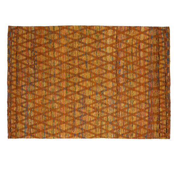 Rug: Wool & silk, tufted, orange and silk, chain link pattern