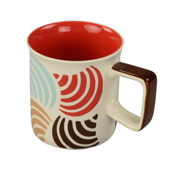 Mug with gift box: Stoneware, red withmulticoloured wifi pattern