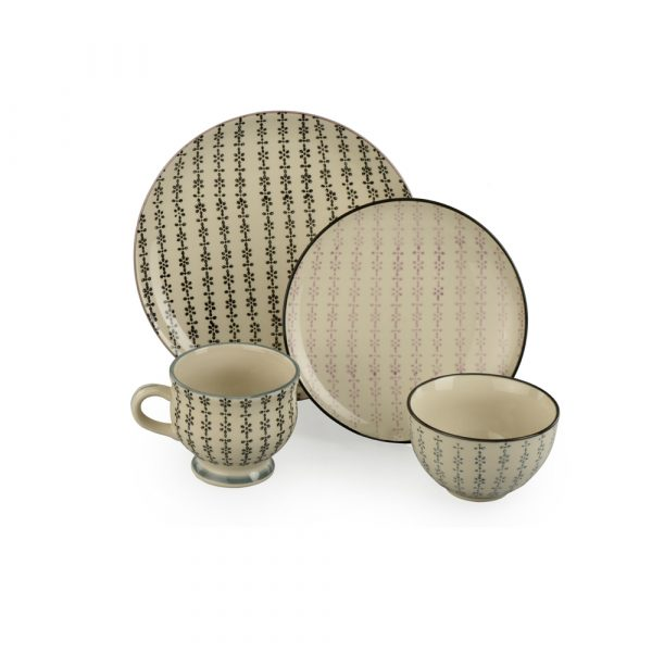 4 piece Dinner set: handpainted, ceramic