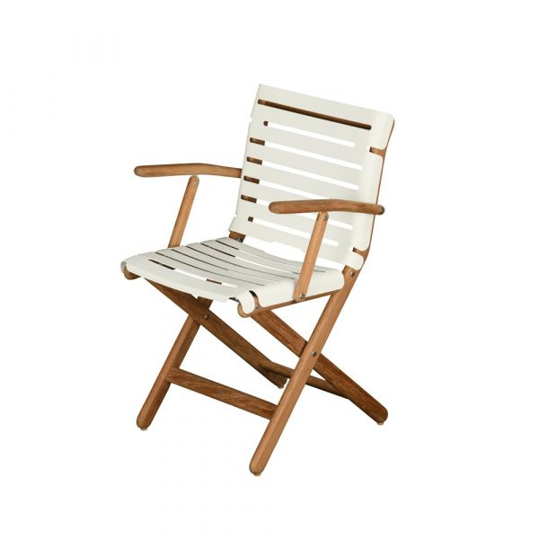 AT800 armchair: folding, aluminium frame, powder coated in natural teak finish