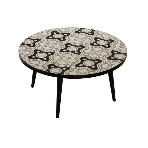 Mix coffee table : round, black & white