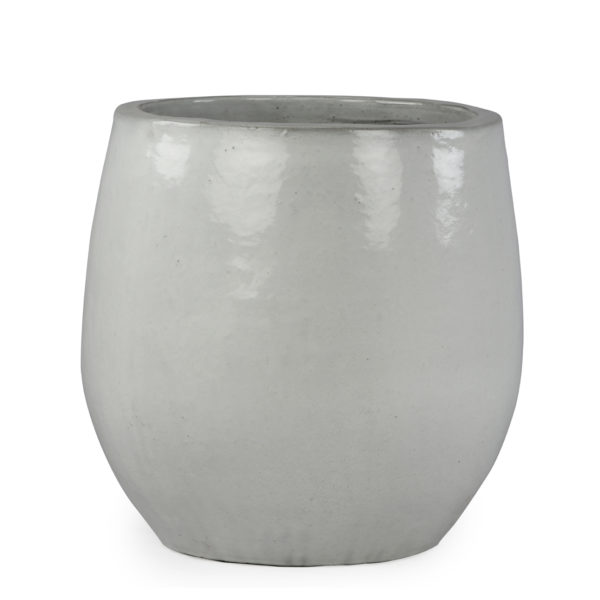 Planter: ceramic, shiny glaze, round