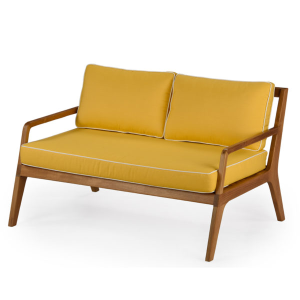 Fifties-low slung, 2 seater armed sofa with reclining back and loose cushions
