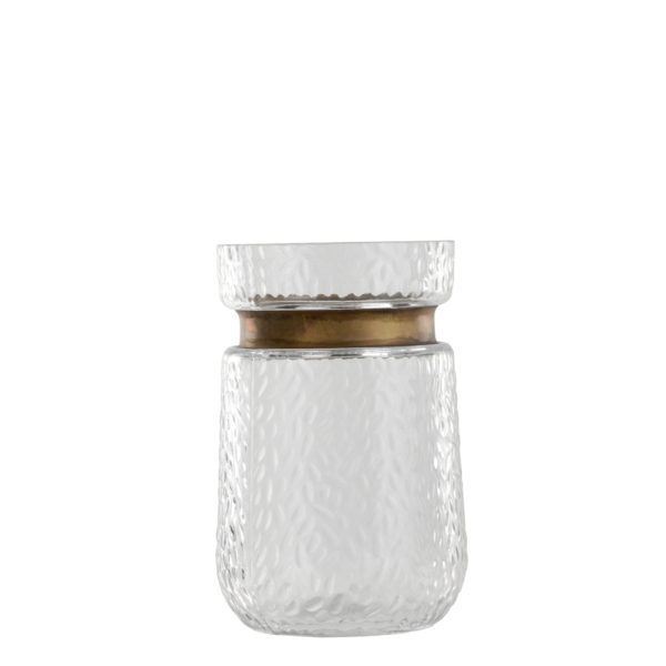 Vase: Jam jar with a rim, clear glass