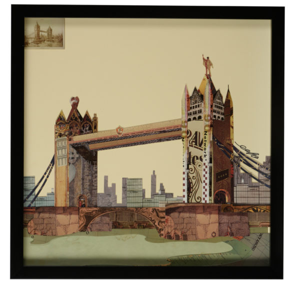 Wall art: Square, framed, Paper collage, London Bridge