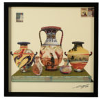 Wall art: square, framed, paper collage, stylised pitchers