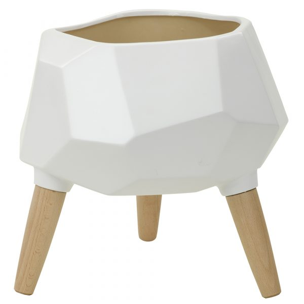 White hexagon planter with tripod WRF01