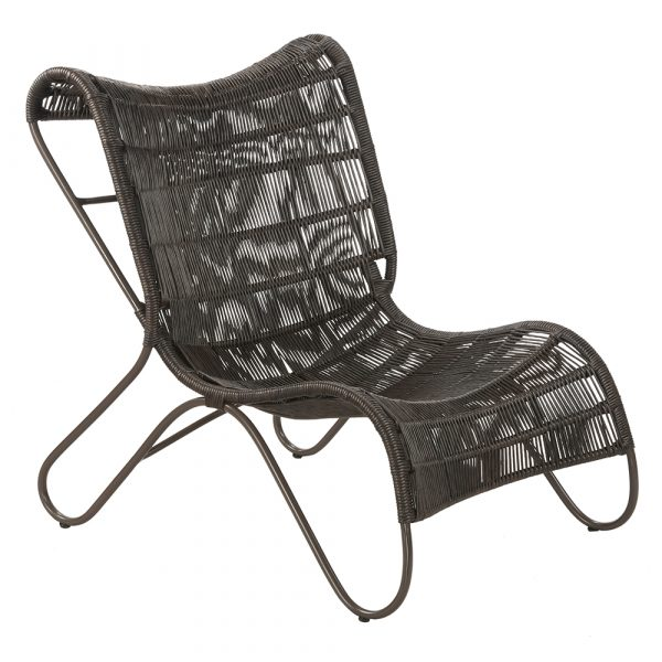 Giola lounge chair : Aluminium with polypeel twisted rope weave, low slung,butterly legs, brown