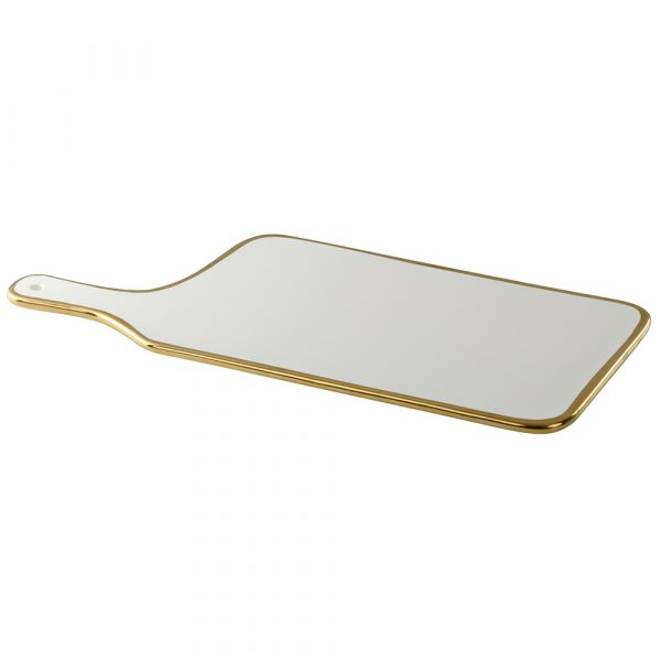 Cheese platter : Ceramic white with gold  trim, rectangular
